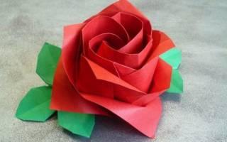 Оригами мастер-класс. Тройной лист для розы