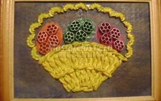 Картина из макарон. Пасхальная корзинка.