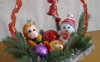 Новогодние подарки своими руками. Корзина «Снеговик».