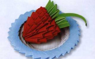 Панно «Клубничка» Модульное оригами. Мастер-класс