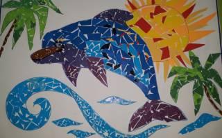 Аппликация из цветной бумаги «Дельфины». Мастер-класс