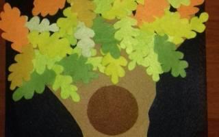 Детские поделки из фетра. Аппликация дерево.