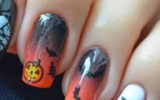 Маникюр на Хэллоуин дома и дизайн ногтей. Мастер класс с фото