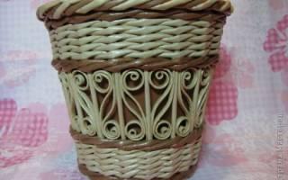 Плетение из бумажных трубочек с элементами квиллинга. Лукошко. Мастер класс