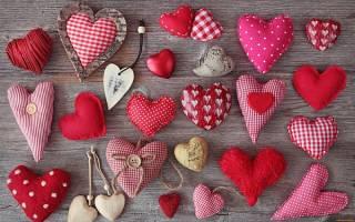 Сувениры своими руками — сердечки из ткани. .