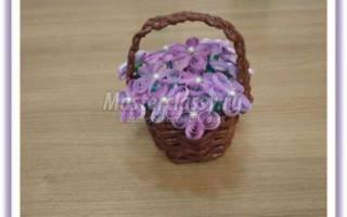 Цветы для мамы – букет фиалок. Квиллинг. Мастер класс с пошаговым фото
