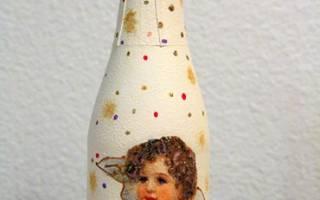 Декупаж. Мини-шампанское «Рождественский подарок».