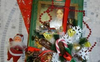 Декор коробки конфет к Новому году.