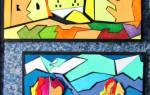 Настенная картина из потолочной плитки. Морские обитатели.