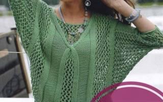 Вязаный трехцветный пуловер спицами с ажурным узором: описание, схема и выкройка