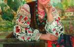 Украинский венок с цветами из лент. Часть 1.