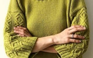 Красивый и теплый пуловер с крупным плетеным узором: описание, схема и выкройка