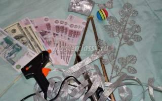 Новогоднее денежное дерево из сувенирных купюр: