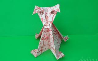Корова из бумаги. Схема оригами