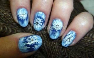 Новогодняя роспись ногтей. Маникюр «Зимние мотивы».