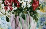 Рисование гуашью. Хризантемы в вазе.