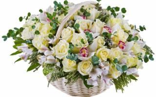 Весенняя корзина с цветами:
