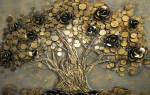 Денежное дерево из натурального камня и монеток.