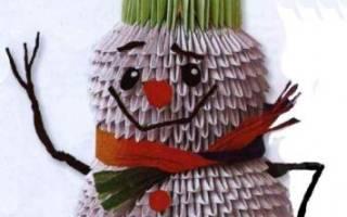 Модульное оригами. Снеговик и заяц.