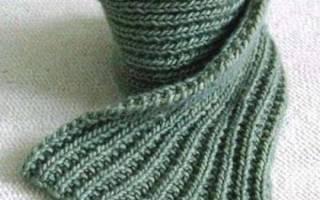Вязание спицами шарфа английской резинкой.