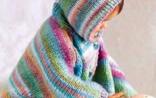 Вязание детям. Осеннее пончо