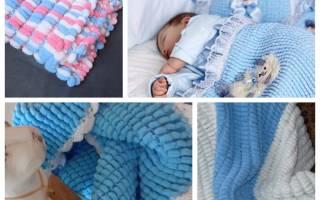 Детское одеяльце вязаное крючком. Схема и описание