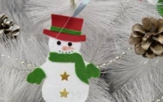 Елочные игрушки из фетра – Мишка и снеговик. Мастер класс