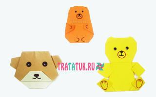 Поделки из бумаги с детьми. Мишка оригами.