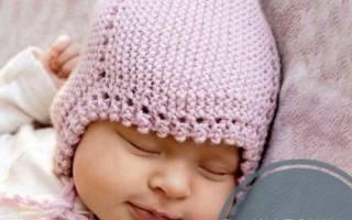 Вязаная шапочка для ребенка 3-6 месяцев.