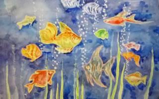 Рисование акварелью и восковыми карандашами. Весёлый осьминожек.