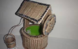 Шкатулка-колодец для украшений из шпагата и картона.