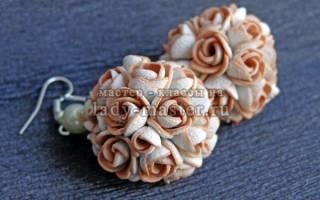 Шарообразные серьги и перстень из полимерной глины «Цветочные букеты». Мастер класс с фото