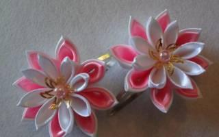 Цветы канзаши для заколок.