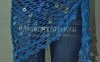 Ажурный набедренный платок для восточных танцев, вязаный крючком. Схема и описание