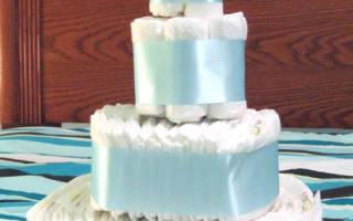 Торт-замок из памперсов своими руками.