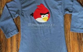Как сделать аппликацию «Злая птичка» на футболку.