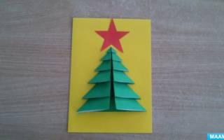 Новогодняя открытка своими руками. Ёлочка из бисера. Мастер класс