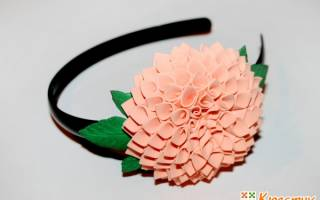 Ободок с цветами из шифона и фоамирана. Пионы. Мастер-класс