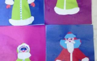 Новогодние рисунки с элементами аппликации. Дед Мороз.