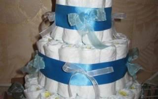 Торт из памперсов в подарок новорожденному