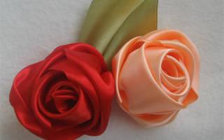 Роза из атласной ленты за пять минут.