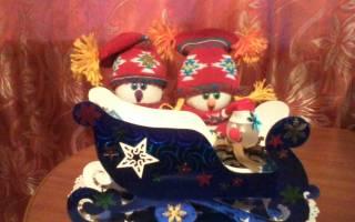 Новогодние поделки из картона. Сани для Деда Мороза.