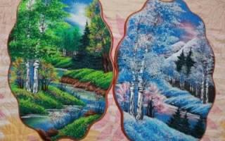 Картина из бумажной крошки. Цветущее дерево.