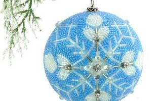Новогодние игрушки, вышитые бисером. графиями