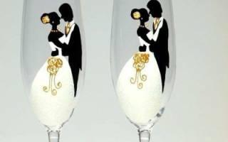 Свадебные украшения своими руками. Роспись бокалов. Мастер класс с фото