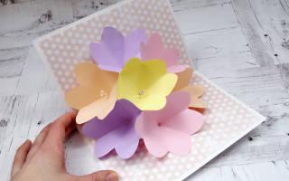 3D открытка с цветами своими руками для мамы.