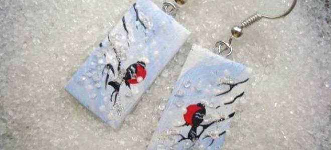 Серьги своими руками «Снегири». Пошаговый мастер-класс