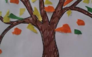 Обрывная аппликация из бумаги. Осенний пейзаж.