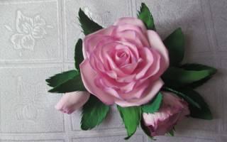 Заколка с цветком из фоамирана. Королевская роза.
