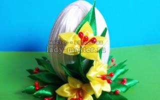 Подарки на Пасху своими руками. Пасхальное яйцо в технике канзаши на подставке: